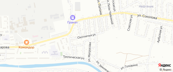 Охотничья улица на карте Астрахани с номерами домов