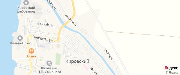 Улица Мира на карте Кировского поселка Астраханской области с номерами домов