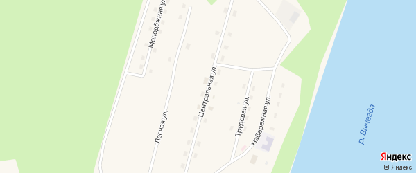 Центральная улица на карте поселка Сойги Архангельской области с номерами домов