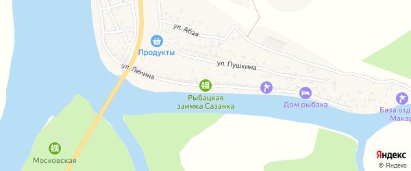 Улица Ленина на карте Верхнекалиновского поселка Астраханской области с номерами домов