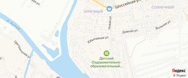 Юбилейная улица на карте Новоначаловский поселка Астраханской области с номерами домов