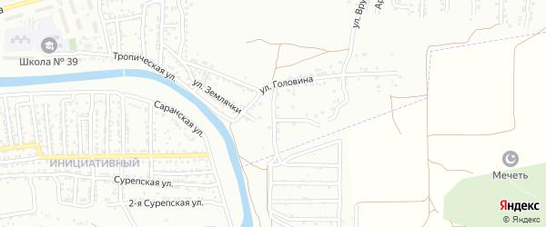 Переулок 1-й Головина на карте Астрахани с номерами домов