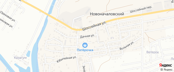 Дачная улица на карте Новоначаловский поселка Астраханской области с номерами домов