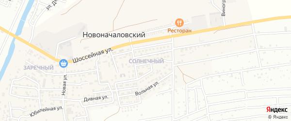 Солнечный микрорайон на карте Новоначаловский поселка Астраханской области с номерами домов