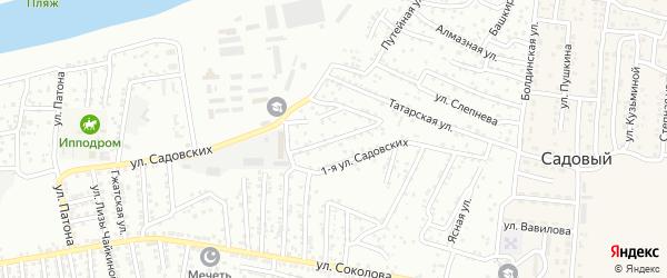 Переулок Садовских на карте Астрахани с номерами домов