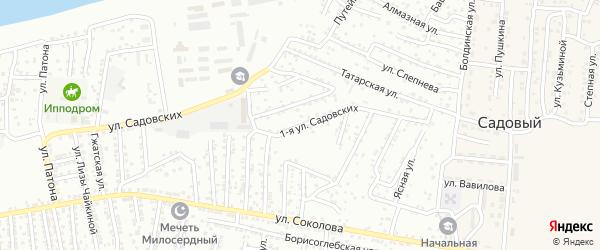 Улица 1-я Садовских на карте Астрахани с номерами домов