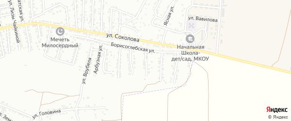 Борисоглебский переулок на карте Астрахани с номерами домов