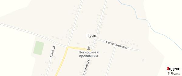 Солнечный переулок на карте деревни Пуяла Марий Эл с номерами домов
