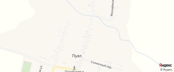 Улица Кузьминых на карте деревни Пуяла Марий Эл с номерами домов