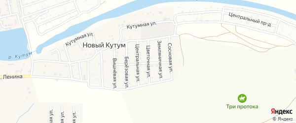 Цветочная улица на карте поселка Нового Кутума Астраханской области с номерами домов