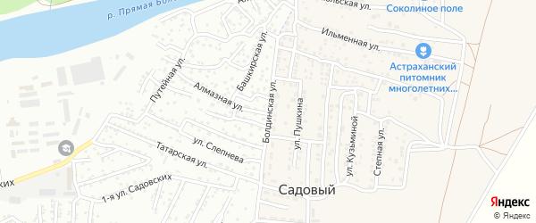 Болдинская улица на карте Садового поселка Астраханской области с номерами домов