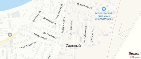 Улица Пушкина на карте Садового поселка Астраханской области с номерами домов
