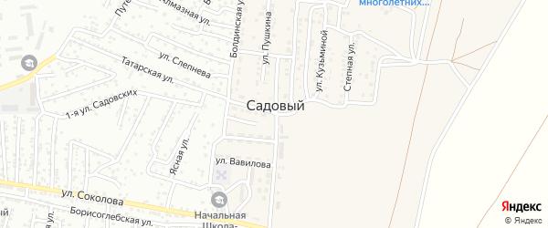 Болдинский переулок на карте Садового поселка Астраханской области с номерами домов