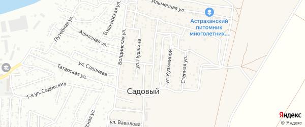Улица Владимира Даля на карте Садового поселка Астраханской области с номерами домов