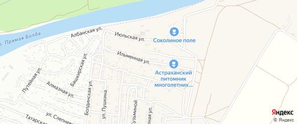 Ильменная улица на карте Садового поселка Астраханской области с номерами домов