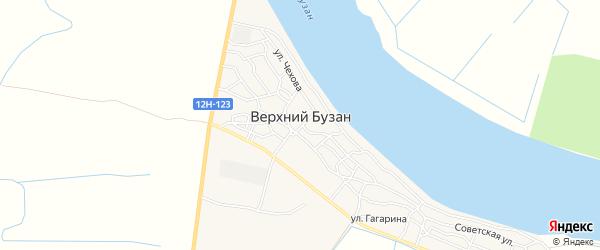 Карта поселка Верхнего Бузана в Астраханской области с улицами и номерами домов