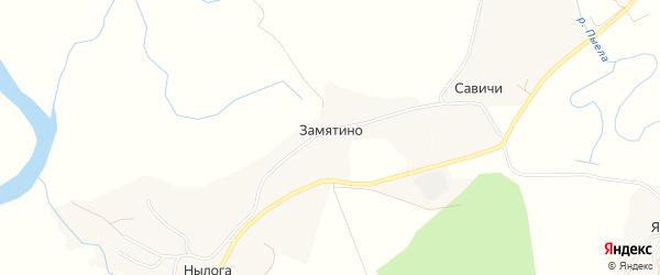 Карта деревни Замятино в Архангельской области с улицами и номерами домов