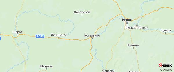 Карта Котельничского района Кировской области с городами и населенными пунктами