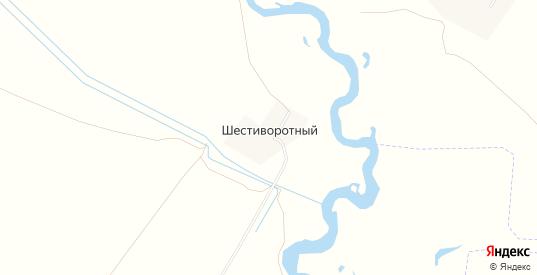 Карта хутора Шестиворотный в Саратовской области с улицами, домами и почтовыми отделениями со спутника онлайн