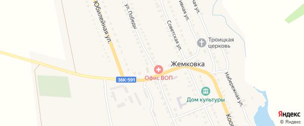 Улица Победы на карте села Жемковки Самарской области с номерами домов