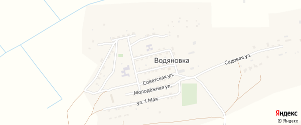 Солнечная улица на карте села Водяновка Астраханской области с номерами домов