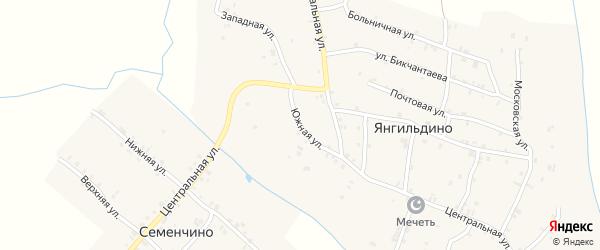 Южная улица на карте села Янгильдино с номерами домов