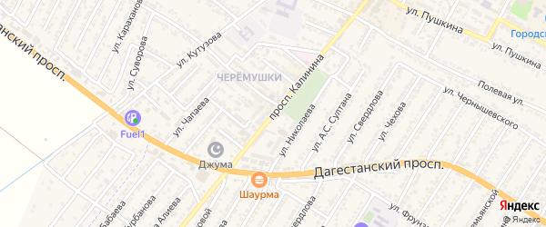 Улица Михаила Ивановича Калинина на карте Дагестанских огней с номерами домов