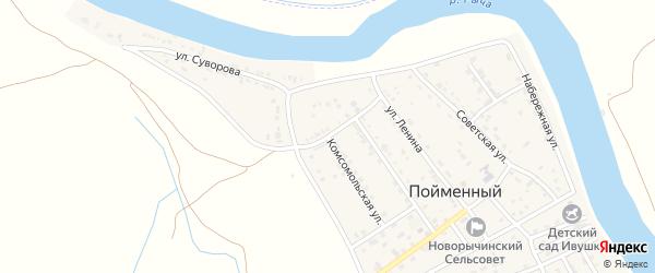 Заречная улица на карте Пойменного поселка Астраханской области с номерами домов