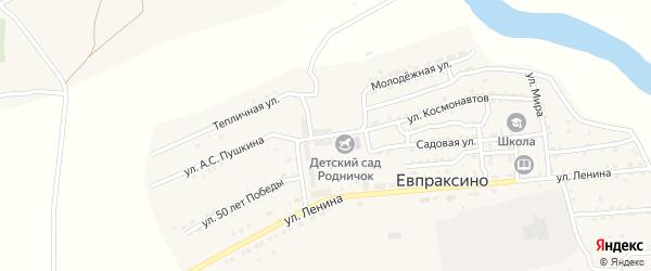 Микрорайон Юность на карте села Евпраксино Астраханской области с номерами домов