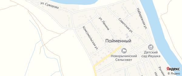 Комсомольская улица на карте Пойменного поселка с номерами домов