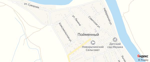 Улица Нариманова на карте Пойменного поселка Астраханской области с номерами домов