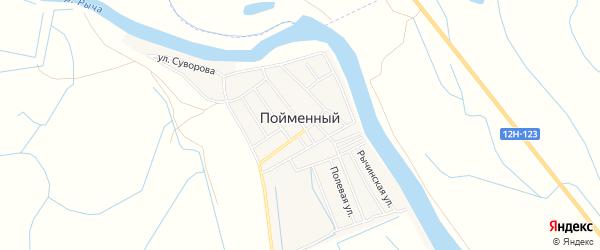 Карта Пойменного поселка в Астраханской области с улицами и номерами домов