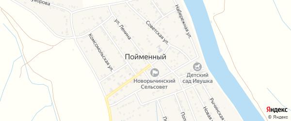 Солнечная улица на карте Пойменного поселка Астраханской области с номерами домов