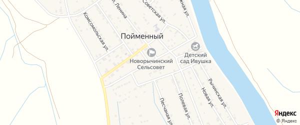 Улица Кадырбулатова на карте Пойменного поселка Астраханской области с номерами домов