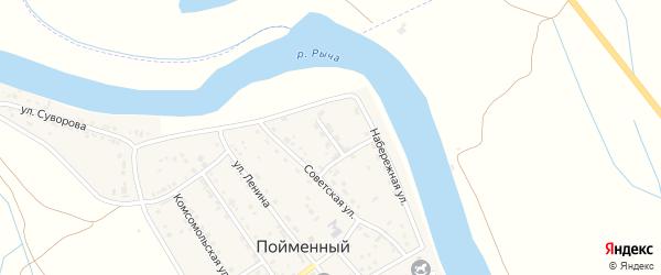 Молодежная улица на карте Пойменного поселка Астраханской области с номерами домов