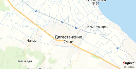 Карта Дагестанских огней с улицами и домами подробная. Показать со спутника номера домов онлайн