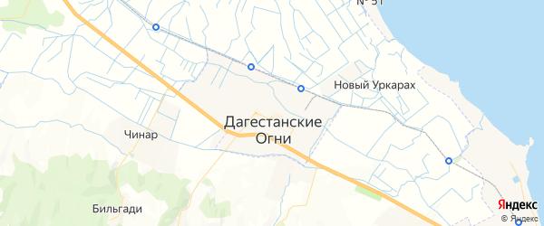 Карта Дагестанских огней с районами, улицами и номерами домов