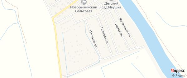 Песчаная улица на карте Пойменного поселка Астраханской области с номерами домов