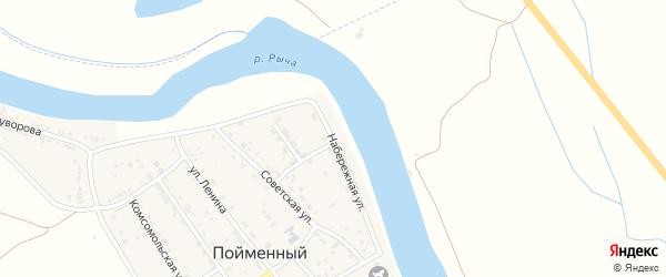 Набережная улица на карте Пойменного поселка Астраханской области с номерами домов
