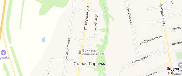 Заклубная улица на карте деревни Старой Тюрлемы с номерами домов