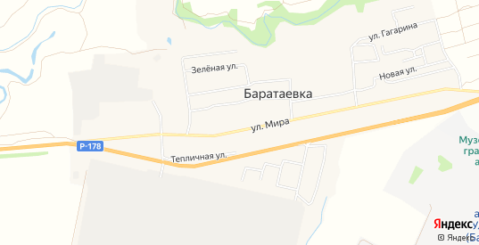 Карта села Баратаевка в Ульяновске с улицами, домами и почтовыми отделениями со спутника онлайн