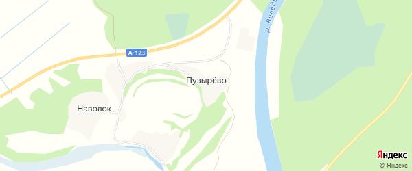 Карта деревни Пузырево в Архангельской области с улицами и номерами домов