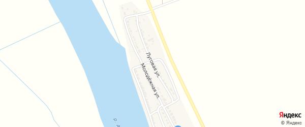Луговая улица на карте села Джанай Астраханской области с номерами домов