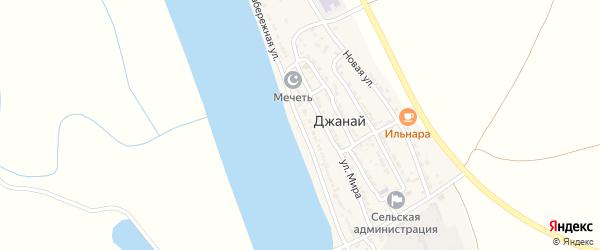 Набережная улица на карте села Джанай Астраханской области с номерами домов