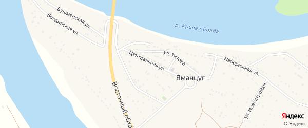 Центральная улица на карте села Яманцуг с номерами домов