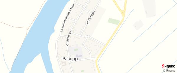 Октябрьская улица на карте села Раздора Астраханской области с номерами домов
