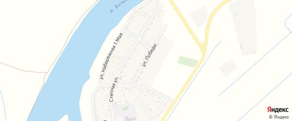 Улица Победы на карте села Раздора Астраханской области с номерами домов