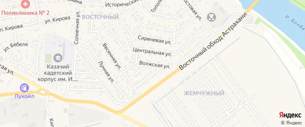 Волжская улица на карте села Началово с номерами домов