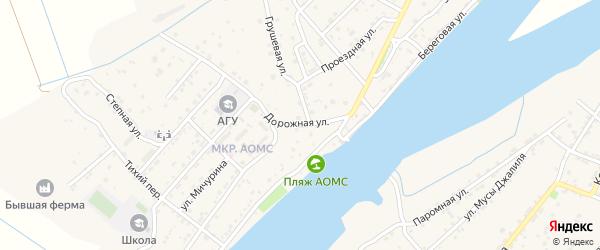 Дорожная улица на карте поселка Начала Астраханской области с номерами домов