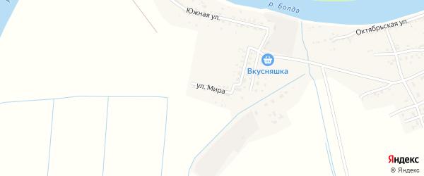 Улица Мира на карте села Семибугров Астраханской области с номерами домов